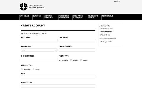 Screenshot of Signup Page cbaapps.org - Canadian Bar Association - captured Oct. 18, 2018
