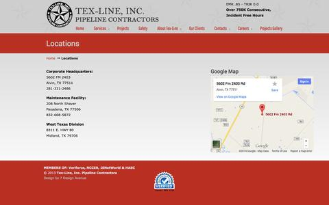 Screenshot of Locations Page tex-line.net - Locations «  Tex-Line  Pipeline Construction - captured Oct. 7, 2014