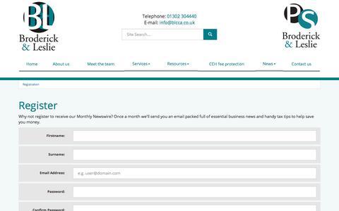 Screenshot of Signup Page blcca.co.uk - Register Doncaster : Broderick & Leslie - captured Oct. 11, 2017