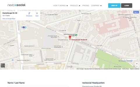 Screenshot of Contact Page nextsocial.io - Contact Us | nextsocial - captured Nov. 2, 2014
