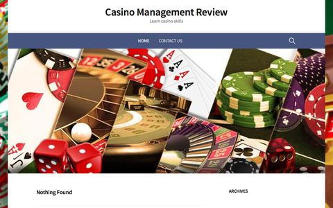Screenshot of Home Page casinomanagementreview.com - Casino Management Review – Learn casino skills - captured July 16, 2018