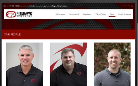 Screenshot of Team Page nitehawksweepers.com - Our People - NiteHawk Sweepers - Manufacturer of quality sweepers including the Raptor and the OspreyNiteHawk Sweepers – Manufacturer of quality sweepers including the Raptor and the Osprey - captured Sept. 20, 2018