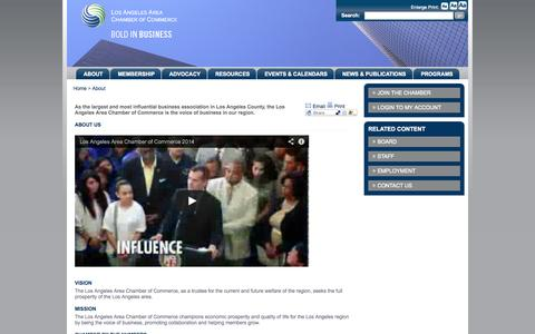 Screenshot of About Page lachamber.com - Los Angeles Area Chamber of Commerce - about_aboutchamber - captured Sept. 23, 2014