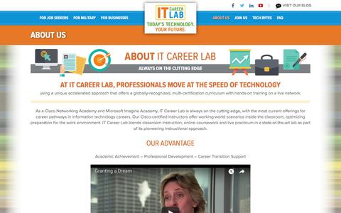 Screenshot of About Page itcareerlab.org - About IT Career Lab | Cisco Networking Academy and Microsoft IT Academy - captured July 28, 2018