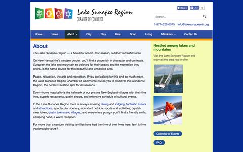 Screenshot of About Page lakesunapeenh.org - About | Lake Sunapee Chamber of CommerceLake Sunapee Chamber of Commerce - captured Oct. 1, 2014
