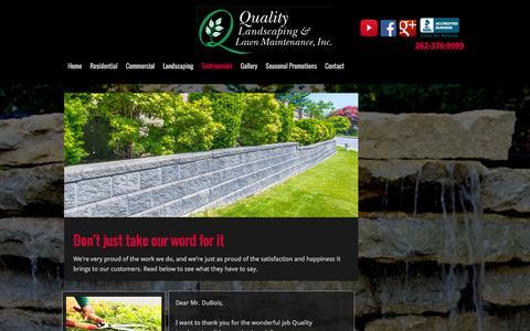 Screenshot of Testimonials Page qllm.com - Quality Landscaping & Lawn Maintenance, Inc. Testimonials   Grafton, WI - captured Jan. 29, 2016