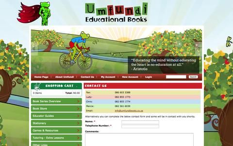 Screenshot of Contact Page umfundibooks.co.za - Contact Us   Umfundi Educational Books - captured Oct. 4, 2014