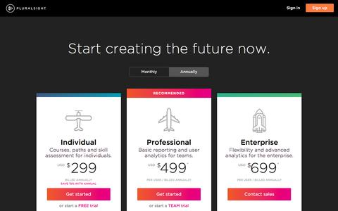Screenshot of Pricing Page pluralsight.com - Pricing and plans | Pluralsight - captured May 16, 2017