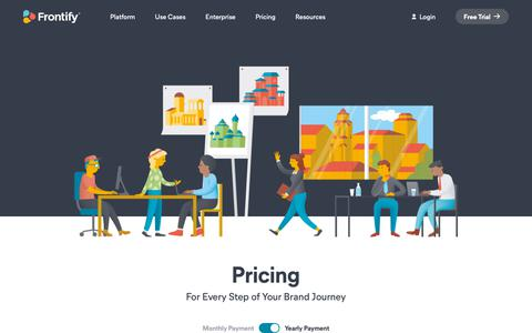 Screenshot of Pricing Page frontify.com - (2) New Messages! - captured April 28, 2019