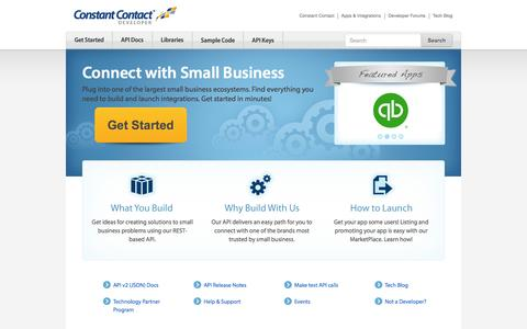 Screenshot of Developers Page constantcontact.com - Home | Constant Contact Developer - captured Sept. 13, 2014