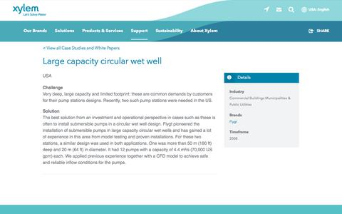 Screenshot of Case Studies Page xylem.com - Case Study: Large capacity circular wet well   Xylem US - captured Nov. 9, 2019
