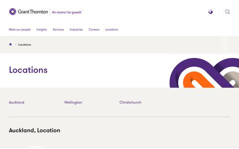 Screenshot of Locations Page grantthornton.co.nz - Locations | Grant Thornton New Zealand - captured Jan. 19, 2019
