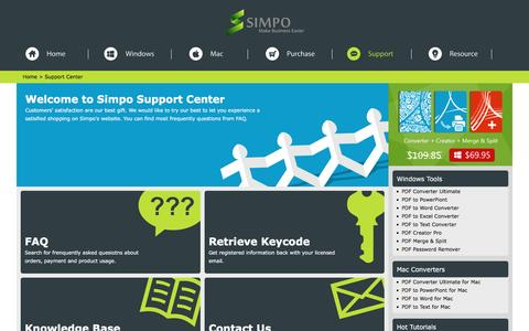 Screenshot of Support Page simpopdf.com - Simpo PDF Support Center - Get Help by Contacting us - captured Feb. 9, 2016