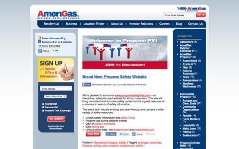 Screenshot of Blog amerigas.com - Reliable, Safe and Responsive | AmeriGas Propane Blog - captured Sept. 19, 2014