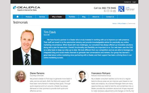 Screenshot of Testimonials Page edealer.ca - Testimonials about e-Dealer, PowerUp for Car Dealers | e-Dealer - captured Sept. 18, 2014