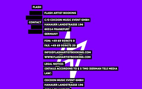 Screenshot of Contact Page flashartistbooking.com - CONTACT | FLASH - captured Oct. 21, 2018