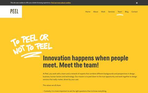 Screenshot of Team Page peel.nu - Peel | Innovation happens when people meet. Meet the team! - captured Sept. 20, 2017