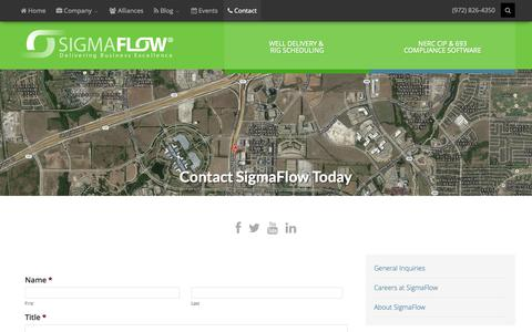 Screenshot of Contact Page sigmaflow.com - Contact – Sigmaflow - captured Sept. 17, 2014