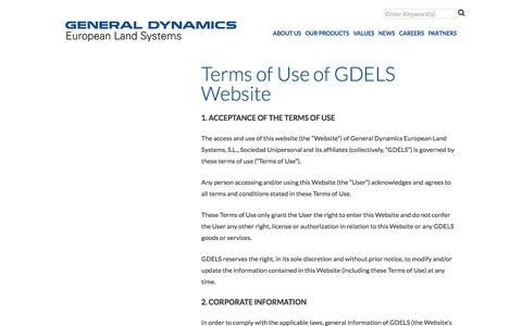 Screenshot of Terms Page gdels.com - GDELS | Contact - captured July 8, 2017