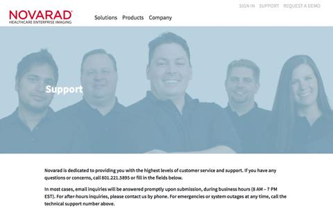 Screenshot of Support Page novarad.net - Support – Novarad - captured March 2, 2018
