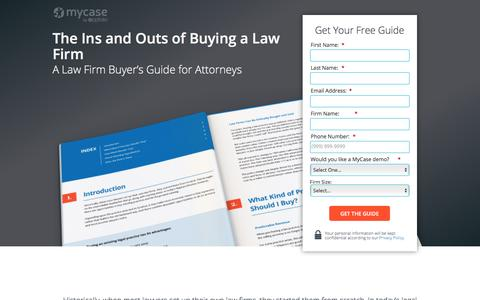 Screenshot of Landing Page mycase.com - The Ins and Outs of Buying a Law Firm :: MyCase Legal Resources - captured May 17, 2017