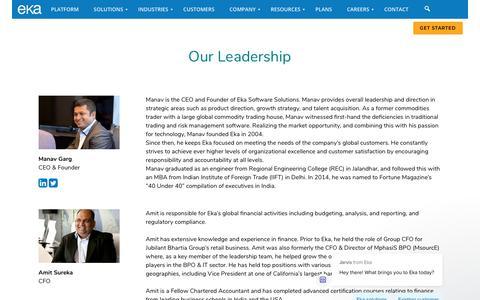 Screenshot of Team Page ekaplus.com - Manav Garg, CEO & Founder | Eka - captured Dec. 4, 2019
