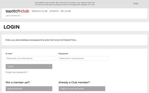 Screenshot of Login Page swatch.com - Login to Swatch.com - Swatch® United States - captured May 19, 2018