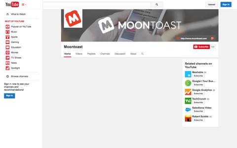 Screenshot of YouTube Page youtube.com - Moontoast  - YouTube - captured Oct. 22, 2014