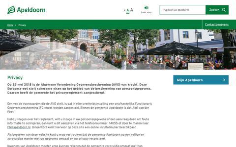 Screenshot of Privacy Page apeldoorn.nl - Gemeente Apeldoorn - captured Sept. 27, 2018