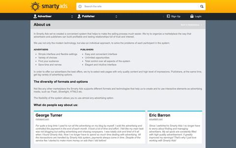 Screenshot of About Page smartyads.com - About us | SmartyAds.com - captured Oct. 26, 2014