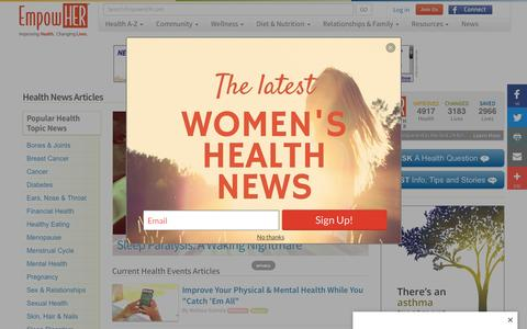Screenshot of Press Page empowher.com - Health News Articles - Women's Current Health Events - captured July 14, 2016