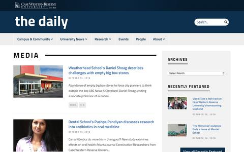 Screenshot of Press Page case.edu - Media | The Daily | Case Western Reserve University - captured Oct. 21, 2018