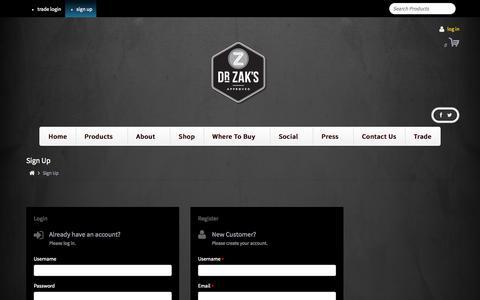 Screenshot of Signup Page dr-zaks.com - Sign Up - - captured Oct. 27, 2014