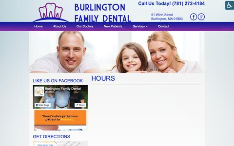 Screenshot of Hours Page burlingtonfamilydental.com - Hours - Burlington Family Dental | Burlington Family Dental - captured Nov. 1, 2018