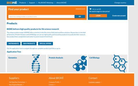 Screenshot of Products Page bioke.com - - BIOKÉ - captured July 27, 2016