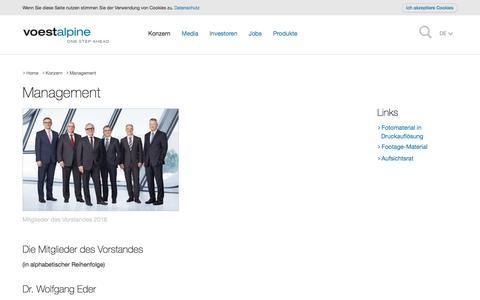 Screenshot of Team Page voestalpine.com - Management - voestalpine - captured Oct. 30, 2016