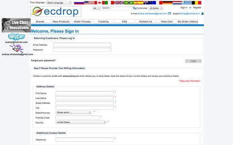 Screenshot of Login Page ecdrop.co - Login : Welcome to ecdrop - captured Oct. 31, 2014