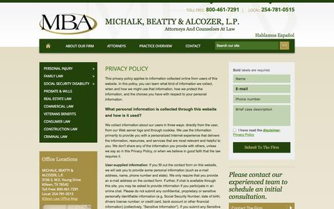 Screenshot of Privacy Page mbaattorneys.com - Privacy Policy | Michalk, Beatty & Alcozer, L.P. | Killeen - captured Oct. 27, 2014