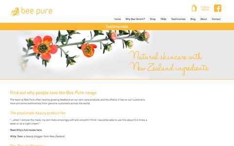 Screenshot of Testimonials Page beepure.co.nz - Testimonials, why people love the Bee Pure range | Bee Pure - captured Oct. 5, 2014