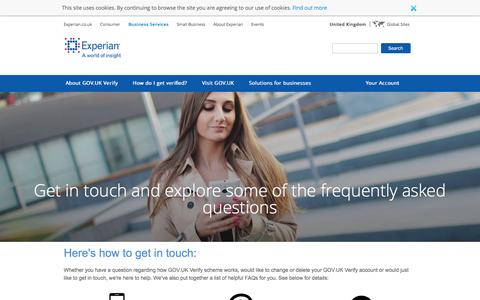GOV.UK Verify | Frequently Asked Questions │ Experian
