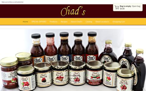 Screenshot of Home Page chadsraspberrykitchen.com - Chad's Kitchen | Unique and Gourmet Expressions of Fresh Foods - captured Dec. 7, 2018