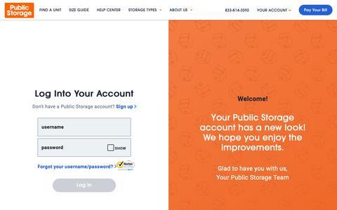 Screenshot of Login Page publicstorage.com - Account Log In   Public Storage - captured June 10, 2019