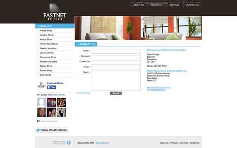 Screenshot of Services Page fastnetblinds.ie - Contact us « Fastnet Blinds - Leading Blinds Specialist Cork - captured Sept. 30, 2014
