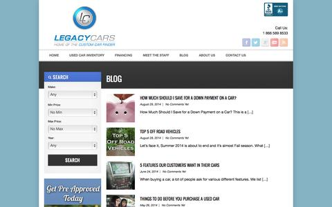 Screenshot of Blog legacycars.com - Blog Archives - Legacy Cars - Used Car Dealership in Surrey, BCArchiveLegacy Cars – Used Car Dealership in Surrey, BC - captured Sept. 29, 2014
