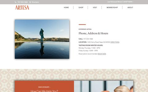Screenshot of Contact Page artesawinery.com - Contact & Directions - Artesa Estate Vineyards & Winery - captured Feb. 16, 2019