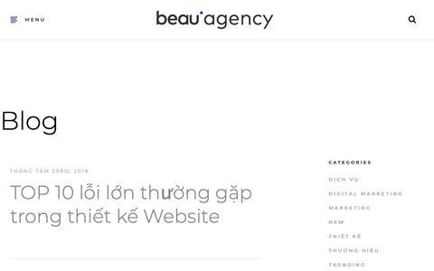 Screenshot of Blog beau.vn - Beau Agency l Công Ty Sáng Tạo, Chuyên Nghiệp, Đột Phá Trong Từng - captured Oct. 5, 2018
