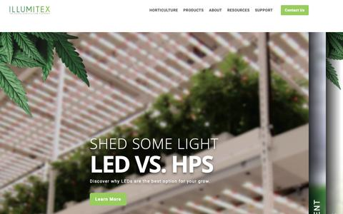 Screenshot of Home Page illumitex.com - LED Grow Lights and Digital Horticulture Solutions | Illumitex - captured March 6, 2019
