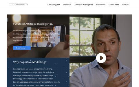 Screenshot of Home Page cogisen.com - Taking Artificial Intelligence Beyond Limitations   Cogisen - captured Nov. 10, 2018