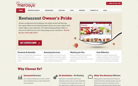 Screenshot of Home Page merosys.com - Online Food/Menu Ordering System for Restaurant: Order Pizza Online - captured Sept. 30, 2014