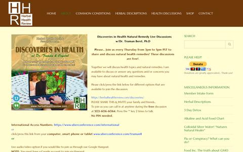Screenshot of About Page herbalhealthreview.com - About - Herbal Health Review - captured Dec. 15, 2018